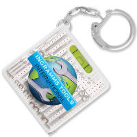 Spirit Level Tape Measure Keyrings in White