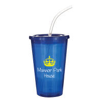 Custom branded Stadium Cups printed with logo in blue from Total Merchandise