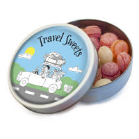Our promotional Travel Sweets feature your full-colour artwork on the tin's lid.
