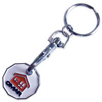 Custom Branded Trolley Coin Token Keyring in Nickel with Enamel Infilled Logo by Total Merchandise