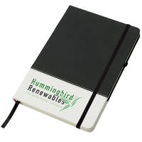 Promotional White Band Coloured Notebooks in Black printed with your logo by Total Merchandise