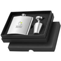 Hip Flask with Cups in Silver