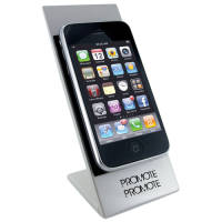 Printed Moby Phone Holder Pad in Silver/Black with Logo Printed by Total Merchandise
