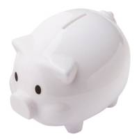 Promotional Oink Money Box Piggy Bank in White from Total Merchandise
