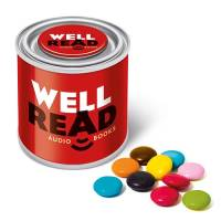 UK Printed Silver Sweet Paint Tins Filled with Chocolate Beanies from Total Merchandise