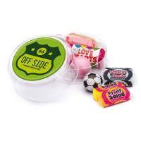 Clear Promotional Retro Sweet Pots with a Mix of Sweets Printed with a Logo by Total Merchandise