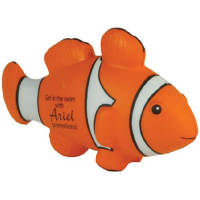 Custom printed Stress Clown Fish with promotional branded artwork to 1 side