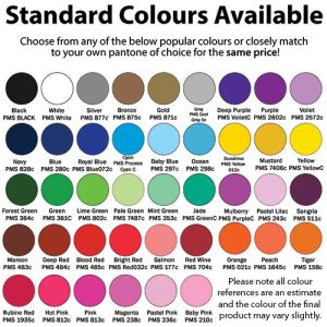 Choose from a wide range of bright colours, or colour-match to your own preferred Pantone tone