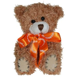 12cm Paw Teddy Bears with Bows in Cinnamon