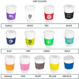 Branded travel mugs for office merchandise colours