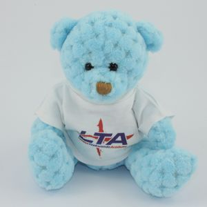15cm Waffle Bears with T Shirts in Sky Blue