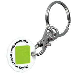 White Promotional Recycled Plastic Trolley Coin Keyrings