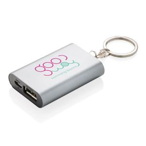 1000mAh Phone Charger Keyrings in Grey