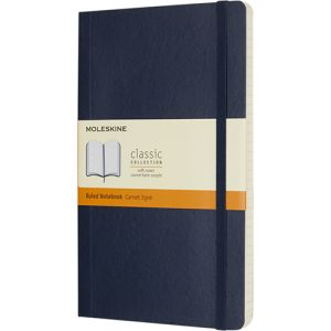 Large Moleskine Soft Cover Ruled Notebook in Sapphire Blue