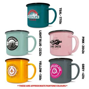 Promotional gift enamel mugs for merchandise ideas