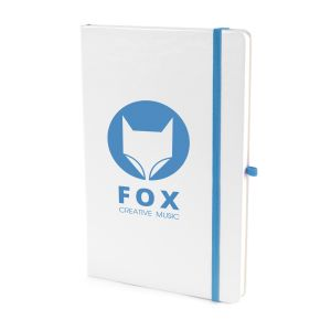 A5 White Soft Touch Notebooks in White/Cyan