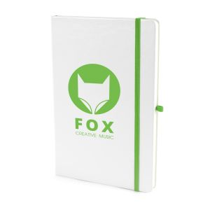 A5 White Soft Touch Notebooks in White/Green