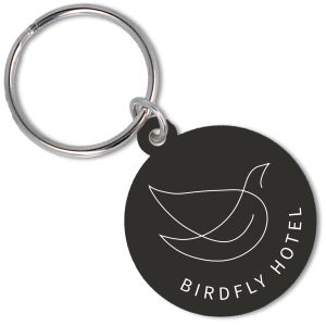 Recycled Plastic Circle Keyrings in Black