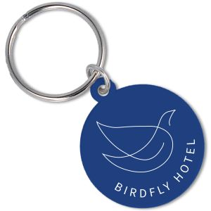 Recycled Plastic Circle Keyrings in Blue