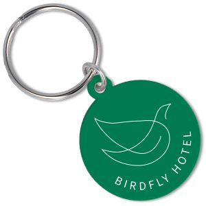 Recycled Plastic Circle Keyrings in Green