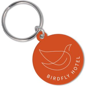 Recycled Plastic Circle Keyrings in Orange