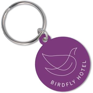 Recycled Plastic Circle Keyrings in Purple