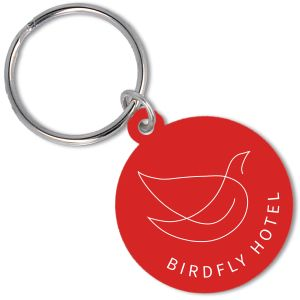 Recycled Plastic Circle Keyrings in Red