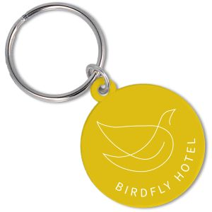 Recycled Plastic Circle Keyrings in Yellow