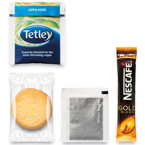 Each branded hot drink pack contains a whole host of treats for your guests!
