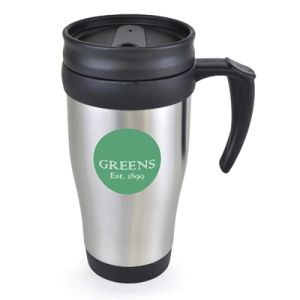These branded travel mugs feature your artwork printed or engraved!