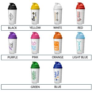 Take your pick from a bright selection of colours for the lids of these impressive protein shaker bottles.