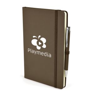 A5 Soft Touch Notebook and Pen in Brown