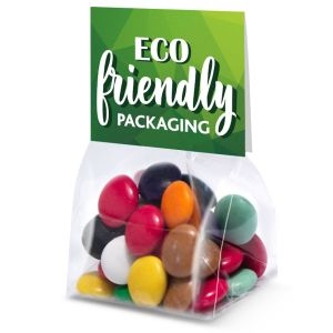 Branded Eco Bags of Chocolate Beanies Compostable Bags