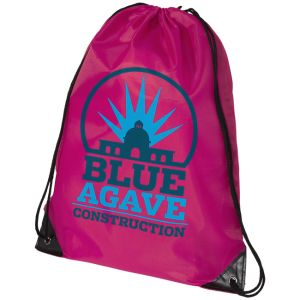 Magenta Printed Drawstring Bags with your Corporate Brand