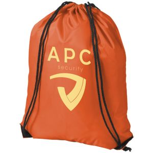 Orange Promotional Polyester Rucksacks Printed with Logo