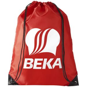 Red Branded Polyester Drawstring Rucksacks Printed for Business