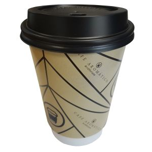 Custom printed 12oz Double Wall Paper Coffee Cups with black lids