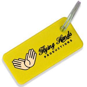Yellow Branded Rectangular Keyrings Made in the UK
