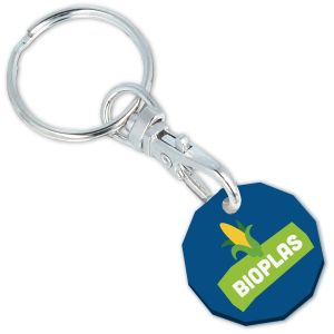Blue Promotional Biodegradable Trolley Coin Keyrings