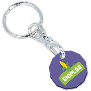 Purple Corporate Branded Biodegradable Plastic Keyrings
