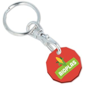 Red Promotional Keyrings Made in UK from Biodegradable Plastic