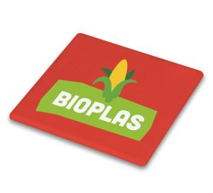 Red Logo Printed Bio Plastic Coasters Corporate Giveaways