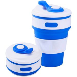 Blue Promotional Folding Reusable Coffee Cups for Business