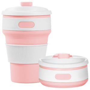 Pink Logo Printed Folding Coffee Cups at Great Low Prices