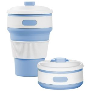 Light Blue Promotional Silicone Coffee Cups Business Gifts