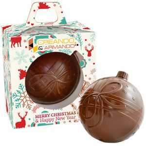 Our promotional Chocolate Christmas Baubles make great festive giveaways!