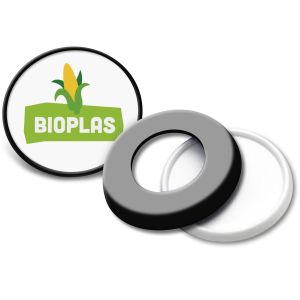 Black Biodegradable Button Badges for Eco-friendly Giveaways