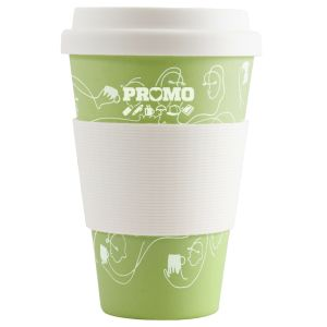 Green Promotional 430ml Bamboo Coffee Cups with your Logo