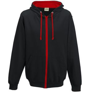 Corporate Printed Hooded Jumpers in Jet Black/Fire Red
