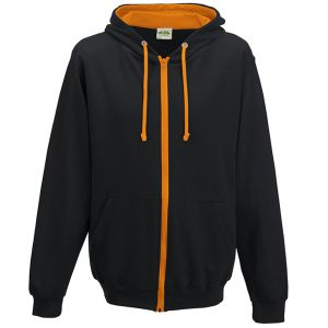 Custom Hoody for Universities in Jet Black/Orange Crush